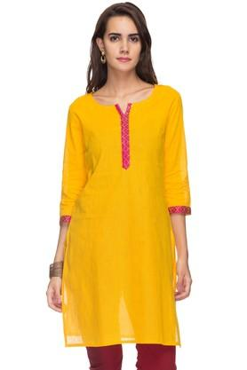 STOP Womens Round Neck Solid Embellished Kurta
