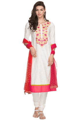 STOP Womens Embroidered Churidar Suit