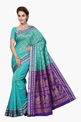 ISHIN Womens Cotton Silk Brocade Saree - 201628842
