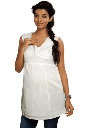 NINE MATERNITY Sleeveless Top In White Cambric