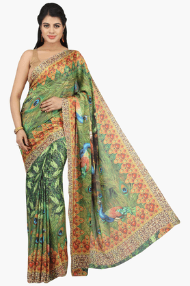 JASHN Womens Printed Saree With Blouse Piece - 201313149