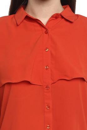Womens Collared Solid Layered Shirt