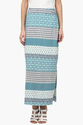 109F Womens Printed Straight Side Slitted Long Skirt