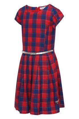 Girls Round Neck Checked Flared Dress with Belt