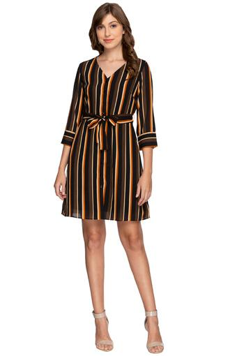 Womens V Neck Stripe Shift Dress