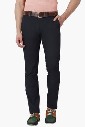 PETER ENGLAND Mens Super Slim Fit 4 Pocket Solid Trousers  ...