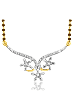 SPARKLES 18Kt Gold Mangalsutra With Diamond Pendant Along With Gold Plated Silver Chain And Black - 7499821_9999