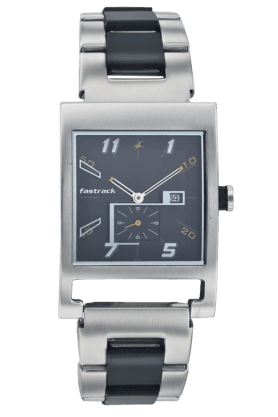 FASTRACKMens Watch With Silver Coloured Metallic Strap With Black Inserts - NE1478SM01