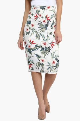 MISS CHASE Womens Printed Midi Skirt
