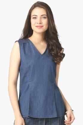 Womens V-neck Denim Top