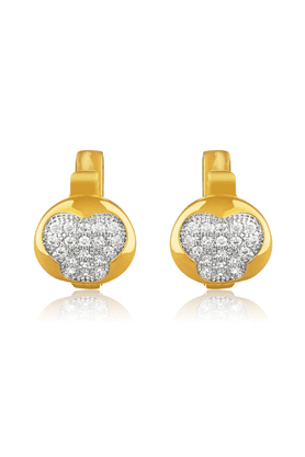 MAHI Mahi Gold Plated Pave Struck Bali Earrings With CZ Stones For Women ER1109350G