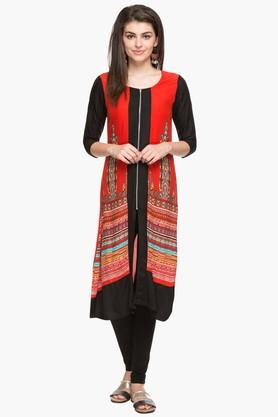 IMARA Womens Round Neck Colour Block Printed Kurta