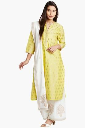 BIBA Womens Cotton Silk Straight Suit Set