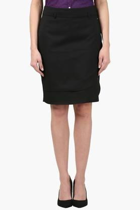 PARK AVENUE Womens Solid Knee Length Skirt