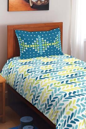 SPACESAllure Blue Cotton Single Bed Sheet With 1 Pillow Cover