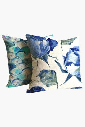 Blue Rose Poly Cotton Cushion Cover