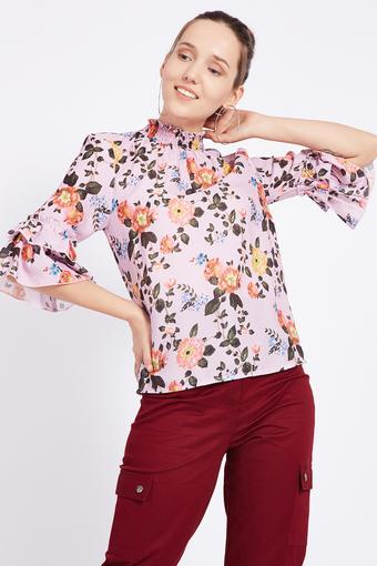 Womens High Neck Floral Print Top