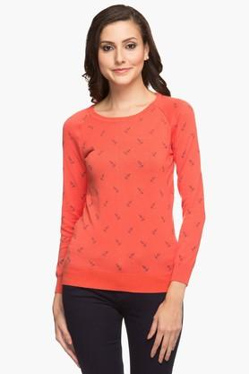 ALLEN SOLLY Womens Round Neck Printed Top