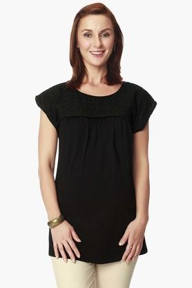 NINE MATERNITY Womens Round Neck Solid Top (Shop Worth Rs 2200/- & Above And Get An Scarf Worth Rs 695/- For Free)