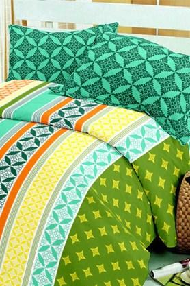 BLISS Green Green Cotton Double Bedsheet Set (Bedsheet Set (King)