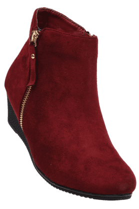 FLAUNT Womens Suede Leather Ankle Zipper Closure Boot