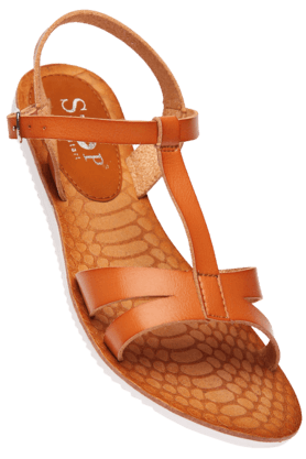 STOP Womens Tan Sarah Ankle Closure Flat Sandal