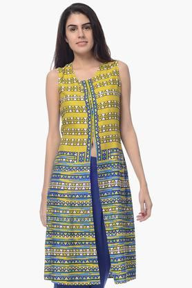 DESI BELLE Womens Printed Front Slitted Kurta