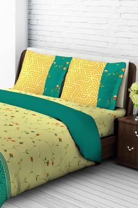 TANGERINETangy Silver Cotton King Bedsheet With 2 Pillow Covers - Yellow & Green