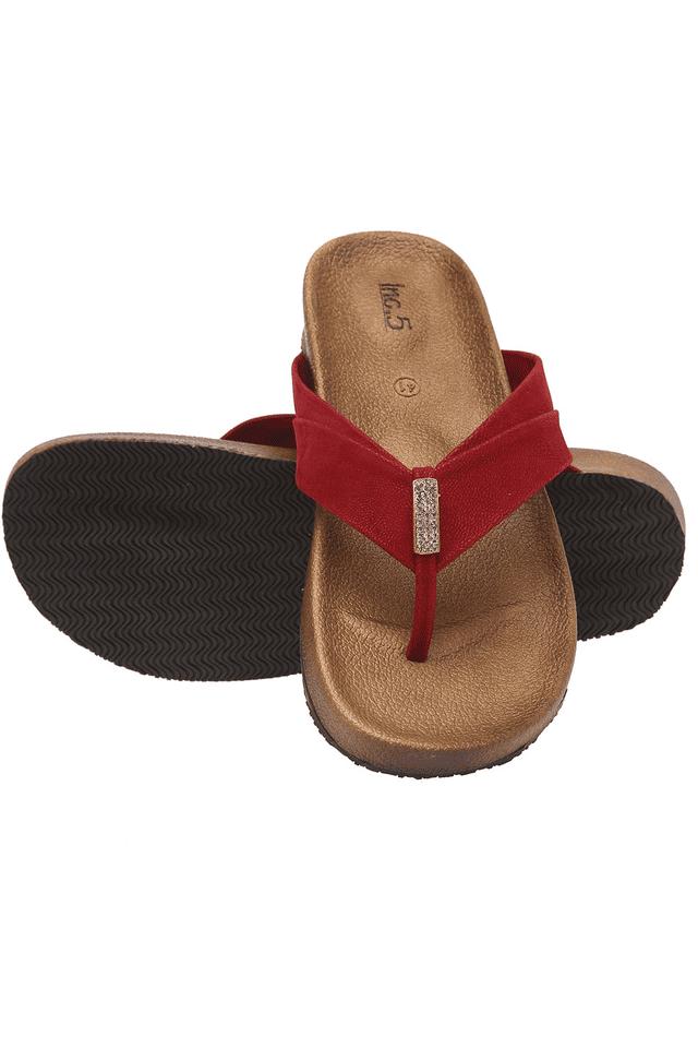 Womens Maroon Slipon Flat Sandal