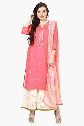 BIBA Women Poly Cotton Straight Suit Set