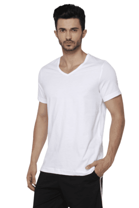 Mens Short Sleeves V Neck Slim Fit Solid T-Shirt