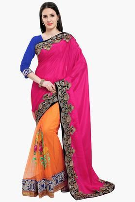 Women Faux Georgette Half & Half Embroidered Saree