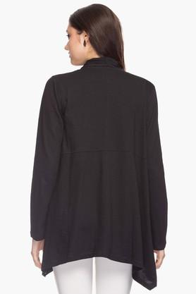 Womens Open Neck Solid Asymmetrical Shrug