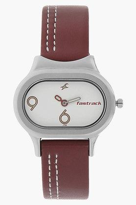 FASTRACK Womens White Dial Leather Strap Watch