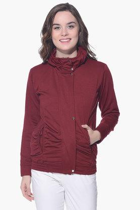 PURYS Womens High Neck Solid Jacket - 201998852