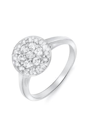 MAHIMahi Rhodium Plated Spring Blossom Ring With CZ Stones For Women FR1100073R