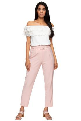 Womens Solid Pants with Belt