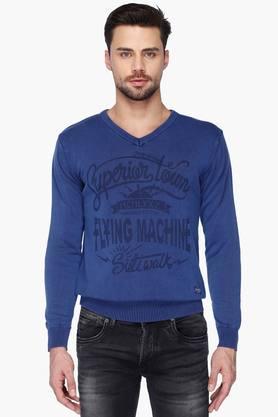 FLYING MACHINEMens V Neck Regular Fit Printed Sweater