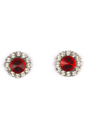 TRIBAL ZONE Silver Studs With White Stones And Red Solitaire