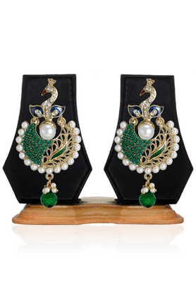 ZAVERI PEARLS Peacock Pattern Dangle Earring - ZPFK2442