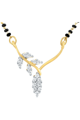 MAHI Gold Plated Mangalsutra Pendant With CZ For Women PS1191434G