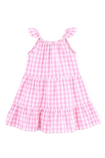 Girls Strappy Check Tiered Dress