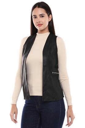 Womens Open Neck Solid Jacket