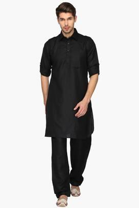 17bc28136 Buy KASHISH Mens Collared Solid Kurta and Pyjama Set