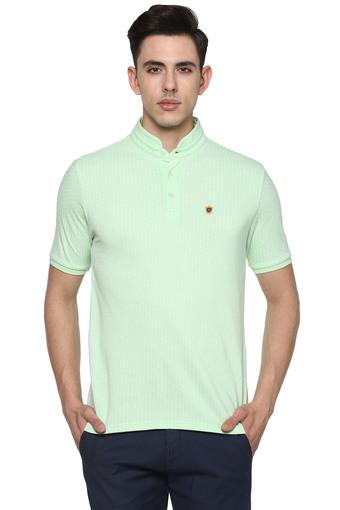 Mens Mandarin Collar Dot Pattern T-Shirt