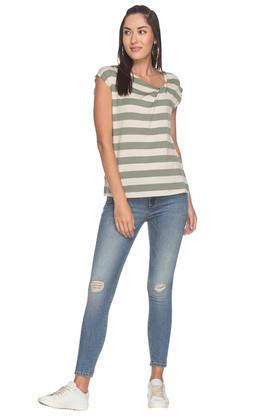 Womens 5 Pocket Mild Wash Distressed Jeans