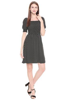 Womens Square Neck Polka Dot Skater Dress