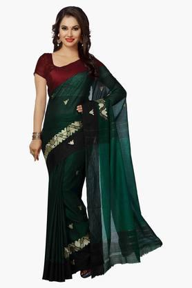 ISHIN Womens Poly Cotton Woven Saree - 201628832