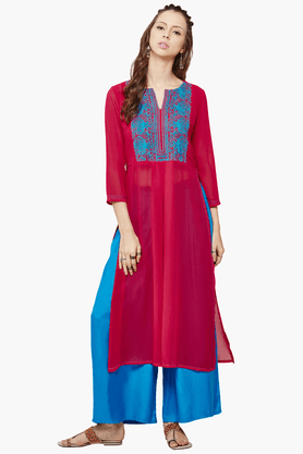 GLOBAL DESI Women's Embroidered Kurta With Palazzo Pant