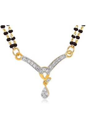 MAHIMahi Gold Plated Numinous Mangalsutra Pendant With CZ For Women PS1191979G2
